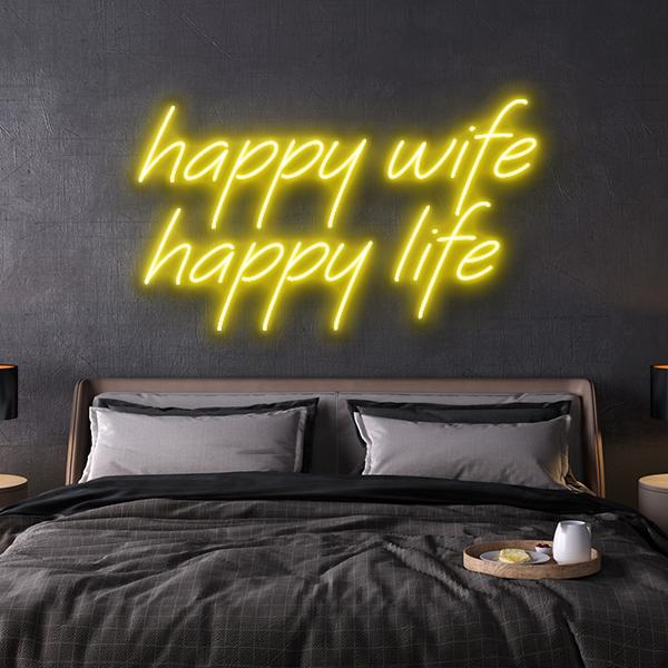 led neon sign happy wife happy life