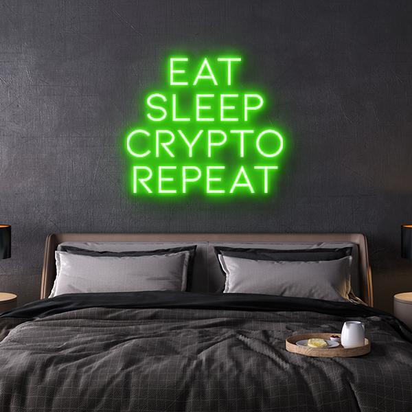led neon sign Eat Sleep Crypto Repeat