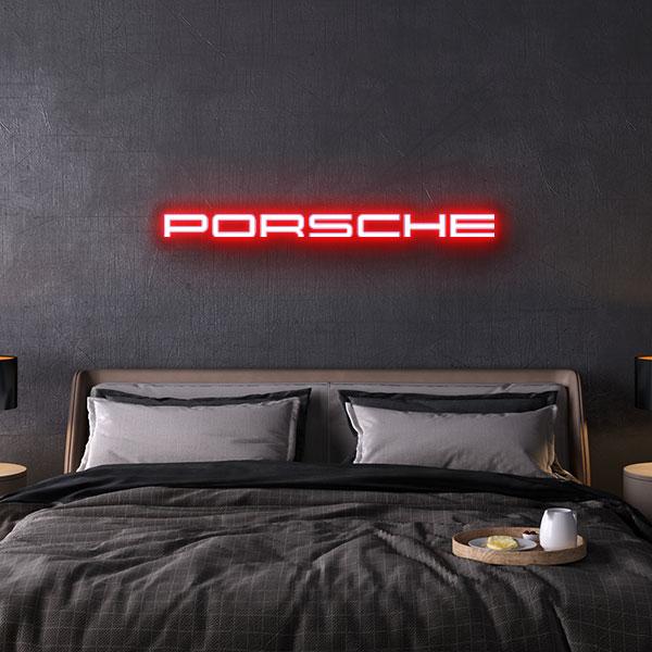 porsche logo neon sign
