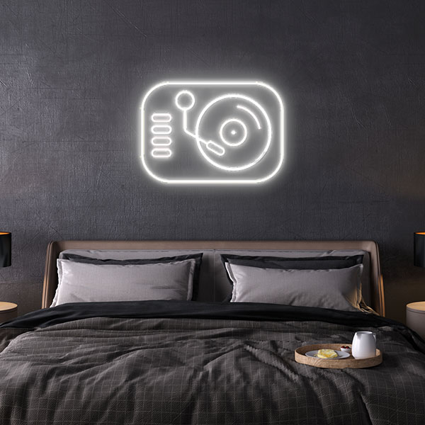 turntable neon sign